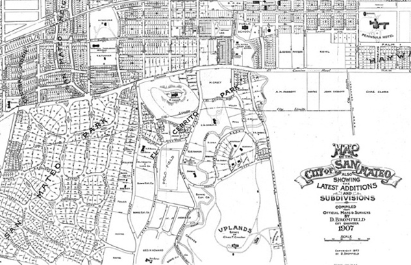 Map of San Mateo in 1907